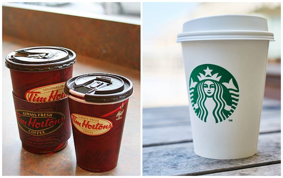 tim horton vs starbucks Tim hortons was scheduled to have nearly 10% of 3,300 restaurants refurbished at end of 2013, but this is both fewer in absolute terms and a slower pace than mcdonald's canada.